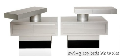 Swing top bedside tables